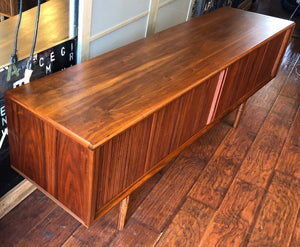 NOT AVAILABLE *****REFINISHED MCM Walnut TV Records Console Bar w Tambour door, Low Profile 6 ft - Mid Century Modern Toronto