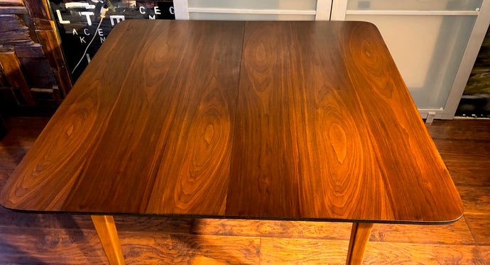REFINISHED MCM Walnut Dining Table Extendable w 3 leaves 41.5
