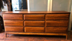 REFINISHED MCM Walnut 9 Drawers Dresser 3-Dimensional Front 6ft, perfect. Night Stands in separate listing - Mid Century Modern Toronto