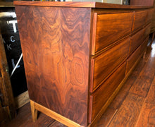 Load image into Gallery viewer, REFINISHED MCM Walnut 9 Drawers Dresser 3-Dimensional Front 6ft, perfect. Night Stands in separate listing - Mid Century Modern Toronto