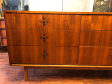 "Load image into Gallery viewer, REFINISHED MCM Walnut Dresser 6 Drawers with rosewood inlay 56"", perfect - Mid Century Modern Toronto"