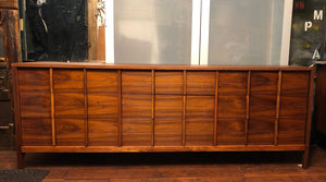 "REFINISHED MCM  Walnut Dresser 9 Drawers by Deilcraft  80"" Perfect - Mid Century Modern Toronto"