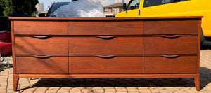 "REFINISHED MCM Walnut Dresser 9 drawers compact 58.5"" perfect - Mid Century Modern Toronto"