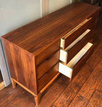 "Load image into Gallery viewer, REFINISHED MCM Walnut Dresser 9 drawers compact 58.5"" - Mid Century Modern Toronto"