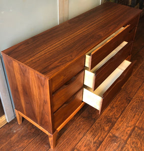 "REFINISHED MCM Walnut Dresser 9 drawers compact 58.5"" - Mid Century Modern Toronto"