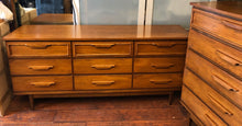 Load image into Gallery viewer, MCM Walnut Bedroom SET: Dresser 9 drawers, Tallboy 5 drawers, 2 Night Stands - Mid Century Modern Toronto
