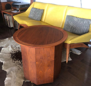 REFINISHED MCM walnut round rolling bar, LP cabinet or accent table w storage  PERFECT, treated for durability - Mid Century Modern Toronto