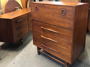 "REFINISHED MCM  Walnut Tallboy OR Secretary desk with drop down door 36"" PERFECT - Mid Century Modern Toronto"