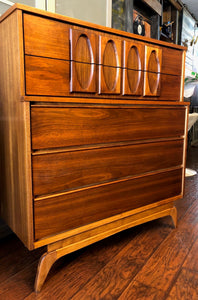 REFINISHED MCM Walnut Sculpted Walnut Tallboy Dresser, PERFECT - Mid Century Modern Toronto