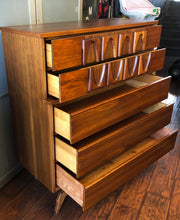 Load image into Gallery viewer, REFINISHED MCM Walnut Sculpted Walnut Tallboy Dresser, PERFECT - Mid Century Modern Toronto