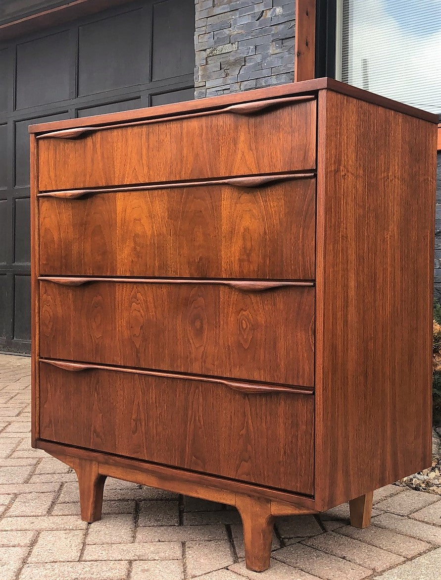 REFINISHED MCM Walnut Tallboy Dresser 4 Drawers PERFECT, compact 34