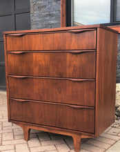 "Load image into Gallery viewer, REFINISHED MCM Walnut Tallboy Dresser 4 Drawers PERFECT, compact 34"" - Mid Century Modern Toronto"