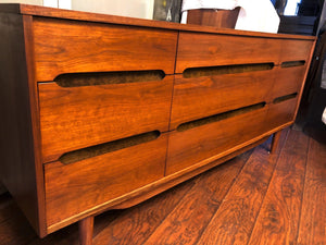 "REFINISHED MCM walnut dresser 9 drawers custom crafted 66"", PERFECT - Mid Century Modern Toronto"