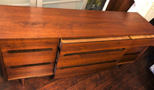 "Load image into Gallery viewer, REFINISHED MCM walnut dresser 9 drawers custom crafted 66"", PERFECT - Mid Century Modern Toronto"