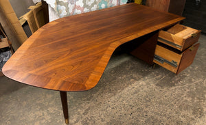 "REFINISHED Large MCM Walnut Office Suite PERFECT (Desk Boomerang Shape & Office Console 83""/96"") - Mid Century Modern Toronto"