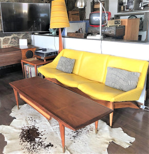 "REFINISHED MCM Walnut Coffee 62"" with a drawer and inlays, PERFECT, treated for durability - Mid Century Modern Toronto"