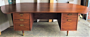 "REFINISHED Large MCM Walnut Office Suite PERFECT (Desk Free-Standing & Office Console 98""/101"") - Mid Century Modern Toronto"