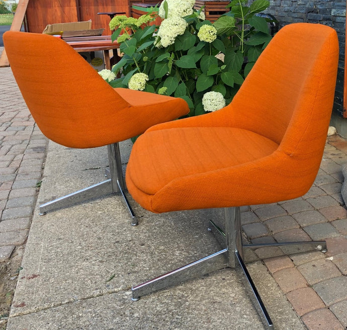 Set of 2 Vintage MCM  Reupholstered Swivel Lounge Chairs, Orange Wool, Perfect - Mid Century Modern Toronto
