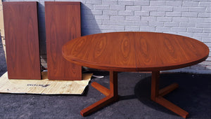 "REFINISHED MCM Rosewood Table Oval w 2 Leaves 64""-104"", pedestal legs, PERFECT - Mid Century Modern Toronto"