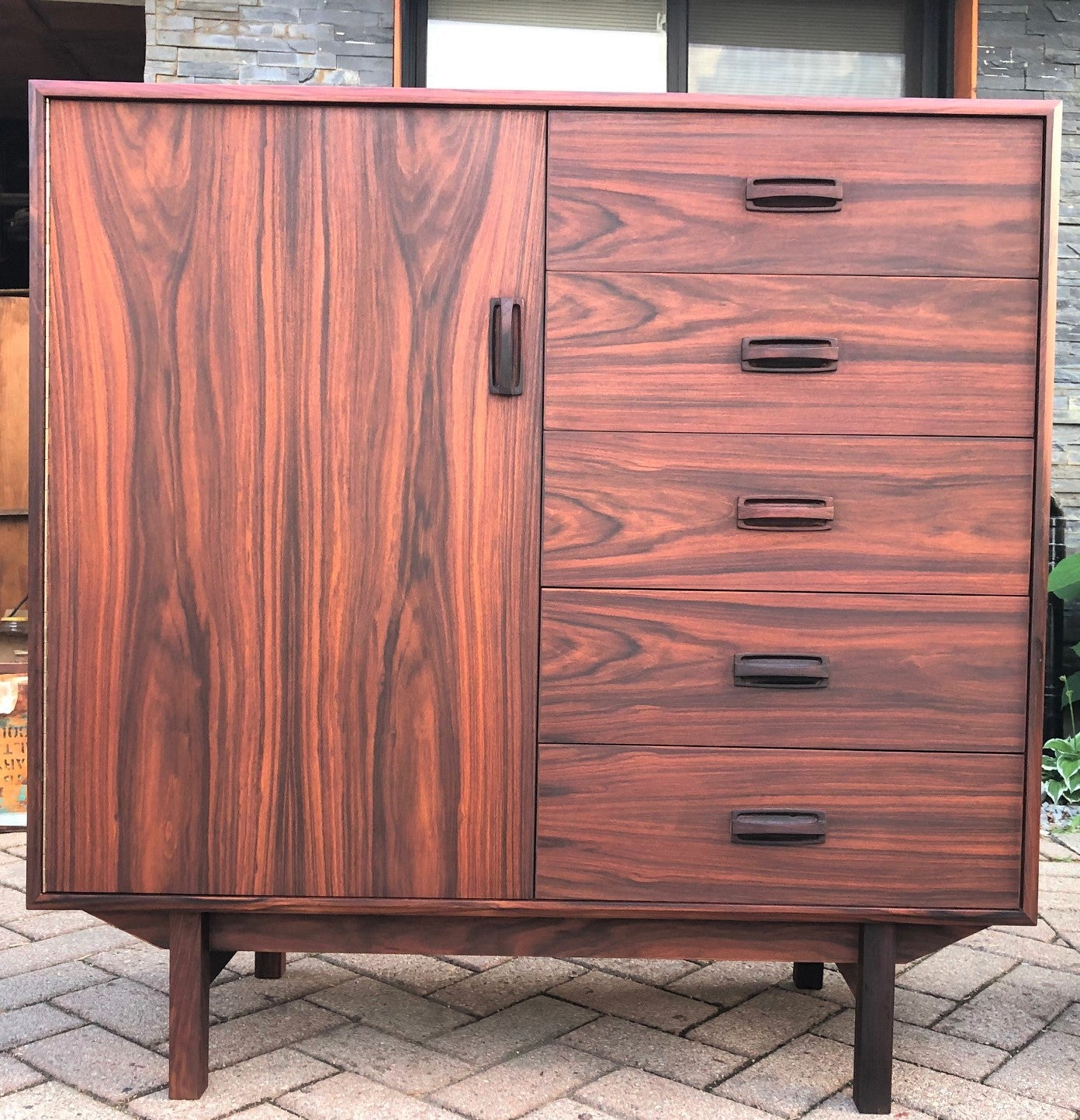 new product 63966 8bbb6 REFINISHED MCM Rosewood Bedroom set: Long dresser, tall dresser & platform  bed w floating nightstands Queen, PERFECT