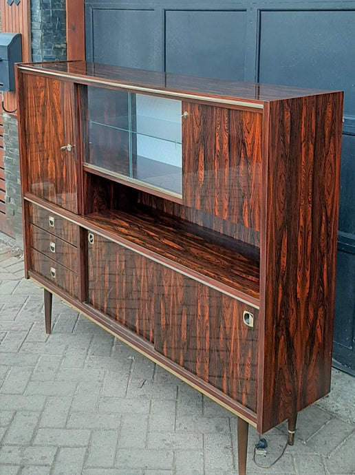 RESTORED Mid Century Modern Rosewood Highboard compact narrow, PERFECT