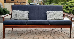 On hold***REFINISHED MCM Solid Teak 3-Seater Lounge Sofa with charcoal wool upholstery - Mid Century Modern Toronto