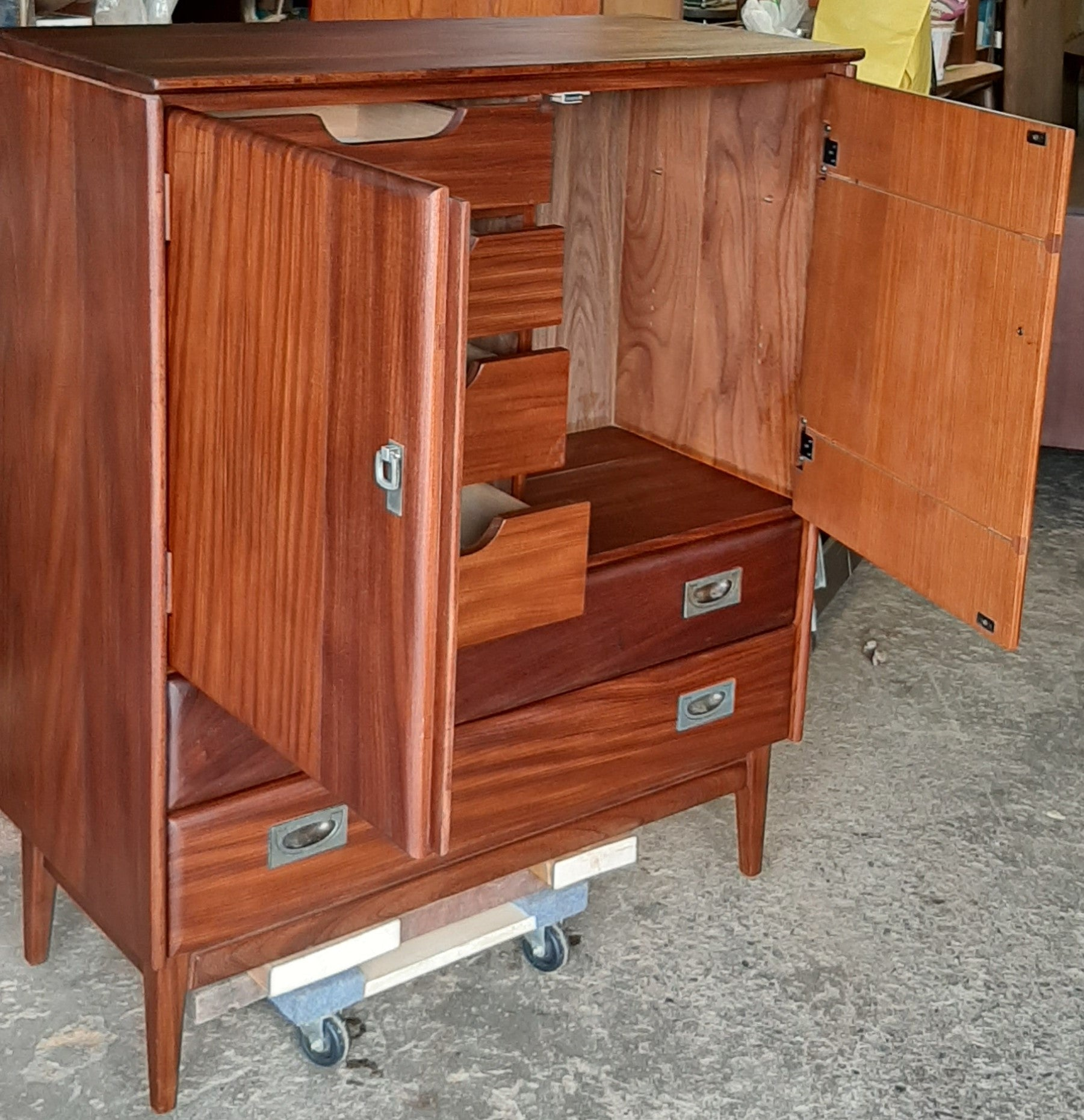 Refinished Mcm Solid Teak Compact Wardrobe And 9 Drawers Dresser By Im Mid Century Modern Toronto
