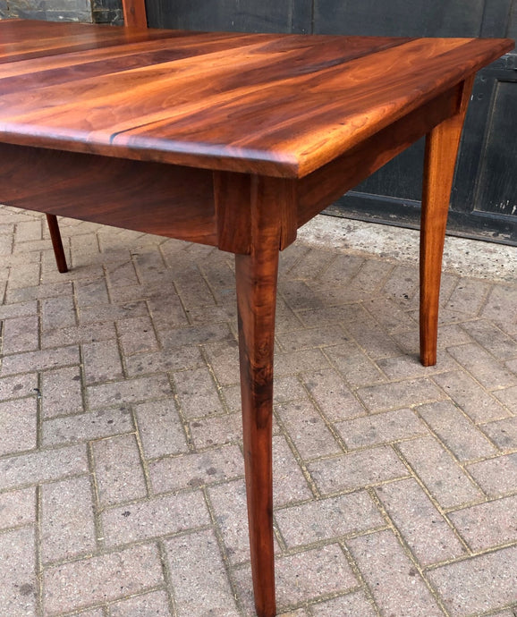 REFINISHED MCM Solid Walnut Table w 1 leaf  56