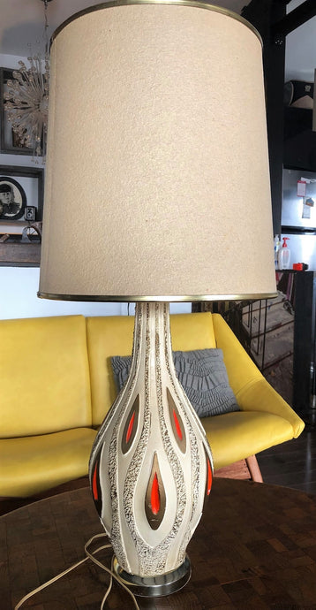 Mid Century Modern art pottery lamp-textured cream, brown, orange; H 34.5
