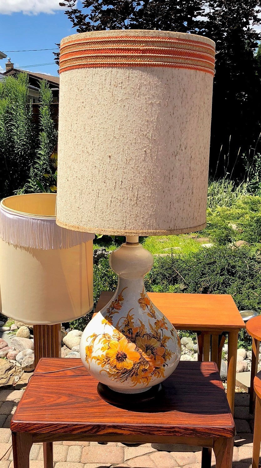Mid Century Modern Ceramic Or Pottery Lamp Large H 40 Including Shade