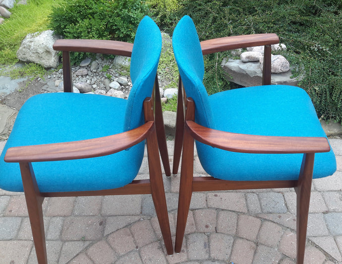 2 REFINISHED REUPHOLSTERED Solid Teak Arm Chairs by Jan Kuypers PERFECT, each $399 - Mid Century Modern Toronto