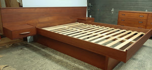 REFINISHED MCM Teak Platform Bed w floating nightstands Queen and Dresser 9 drawers - Mid Century Modern Toronto
