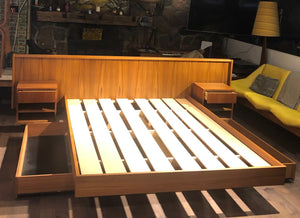 REFINISHED MCM Teak platform bed Queen with storage drawers, 2 night stands options, PERFECT - Mid Century Modern Toronto