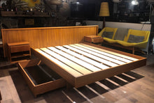 Load image into Gallery viewer, REFINISHED MCM Teak platform bed Queen with storage drawers, 2 night stands options, PERFECT - Mid Century Modern Toronto