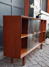 Load image into Gallery viewer, REFINISHED Low MCM Teak Bookcase w sliding glass doors by Punch Design, 5 ft,  PERFECT - Mid Century Modern Toronto