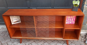 REFINISHED Low MCM Teak Bookcase w sliding glass doors by Punch Design, 5 ft,  PERFECT - Mid Century Modern Toronto