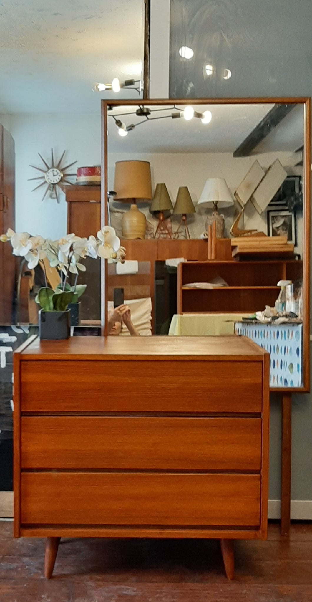 REFINISHED MCM Teak Chest with 3 drawers & Mirror, PERFECT - Mid Century Modern Toronto