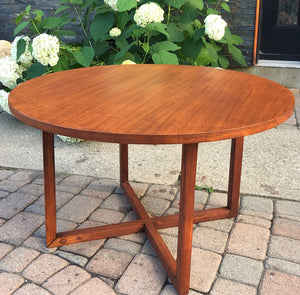 Refinished Mcm Teak Coffee Table Round 32 Mid Century Modern