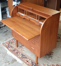 "Load image into Gallery viewer, REFINISHED MCM  Teak Roll Top Secretary Desk 35"" made in Sweden PERFECT - Mid Century Modern Toronto"