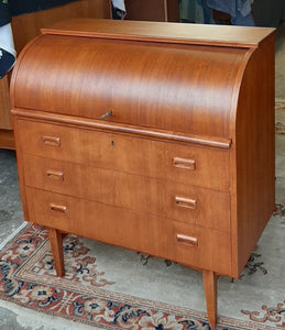 "REFINISHED MCM  Teak Roll Top Secretary Desk 35"" made in Sweden PERFECT - Mid Century Modern Toronto"