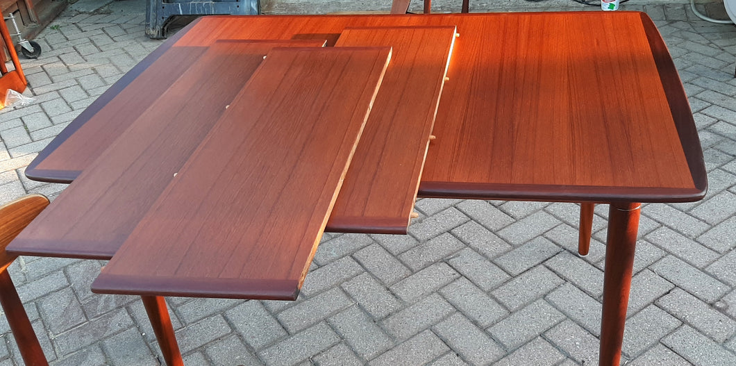 On hold for L. ***REFINISHED MCM Teak Dining Table Extendable w 3 leaves PERFECT 51