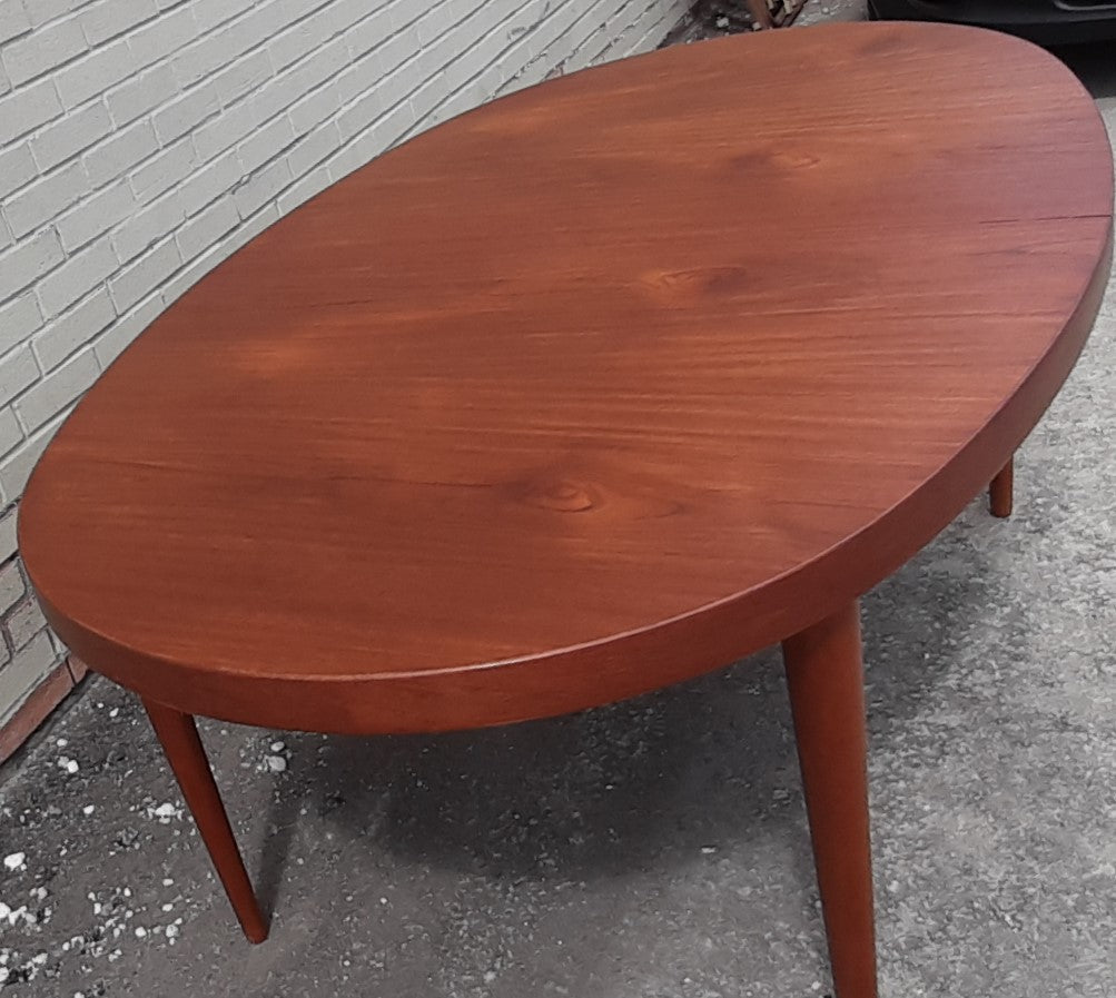 Refinished Mcm Teak Dining Table Extendable Oval W 2