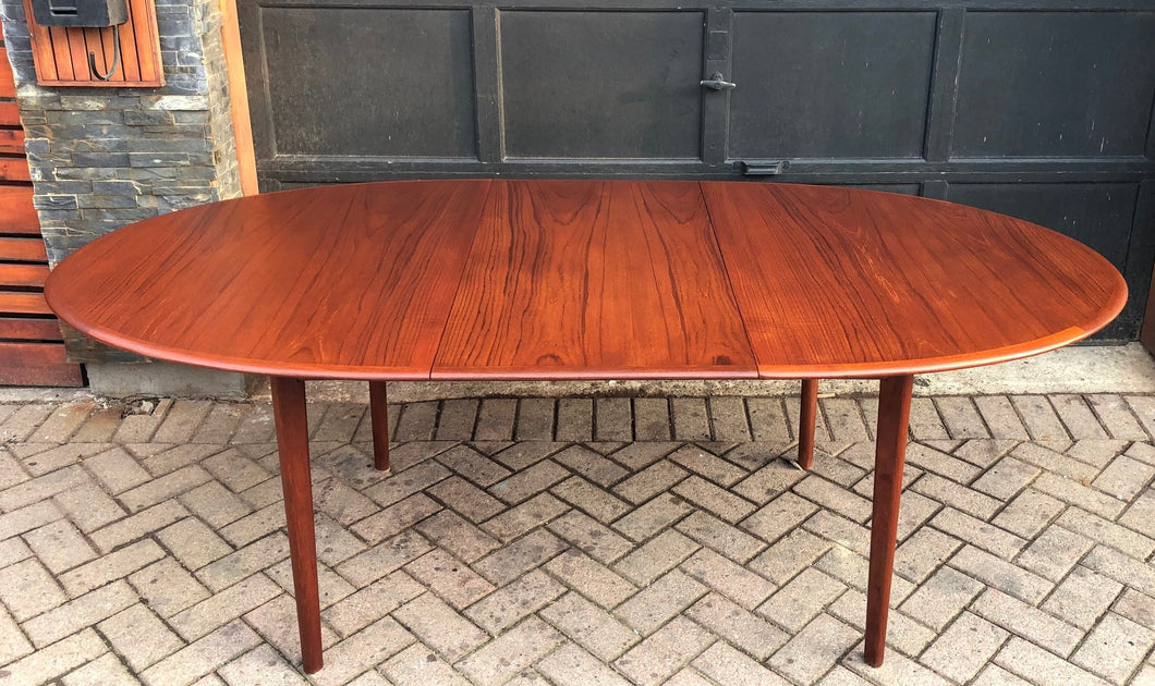 REFINISHED Oval Teak Table Extendable 63