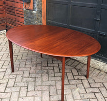 "Load image into Gallery viewer, REFINISHED Oval Teak Table Extendable 63""-84"", treated for durability, PERFECT - Mid Century Modern Toronto"