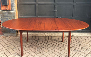 "REFINISHED Oval Teak Table Extendable 63""-84"", treated for durability, PERFECT - Mid Century Modern Toronto"