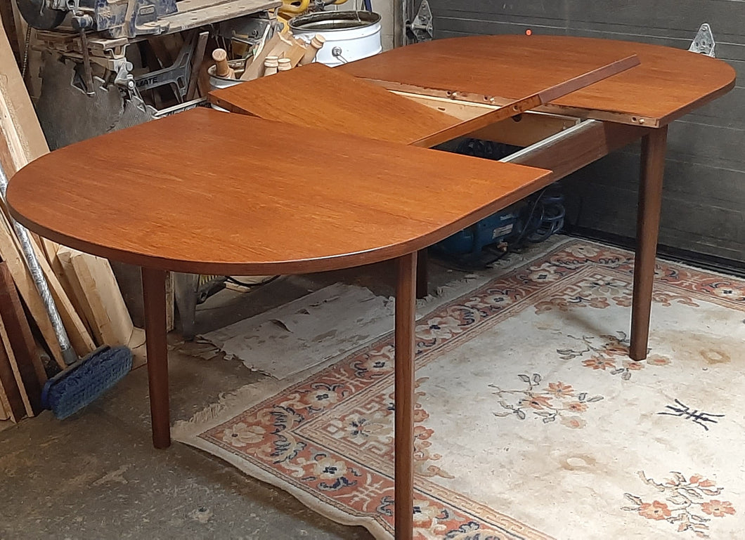 REFINISHED MCM Teak Table Oval Self-Storing w Butterfly Leaf 58