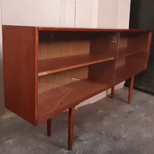 "Load image into Gallery viewer, REFINISHED MCM Teak Bookcase Display w sliding glass doors 71"",  PERFECT - Mid Century Modern Toronto"