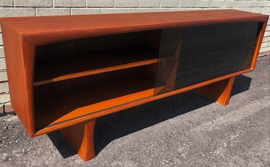 REFINISHED MCM Teak Display Bookcase w tinted glass doors 6 ft, perfect - Mid Century Modern Toronto