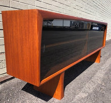 Load image into Gallery viewer, REFINISHED MCM Teak Display Bookcase w tinted glass doors 6 ft, perfect - Mid Century Modern Toronto