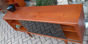 REFINISHED MCM  Teak Media Console 5 ft w tinted glass doors, PERFECT - Mid Century Modern Toronto